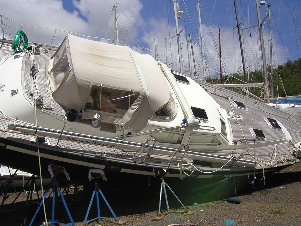 Yacht damaged during hurricane season