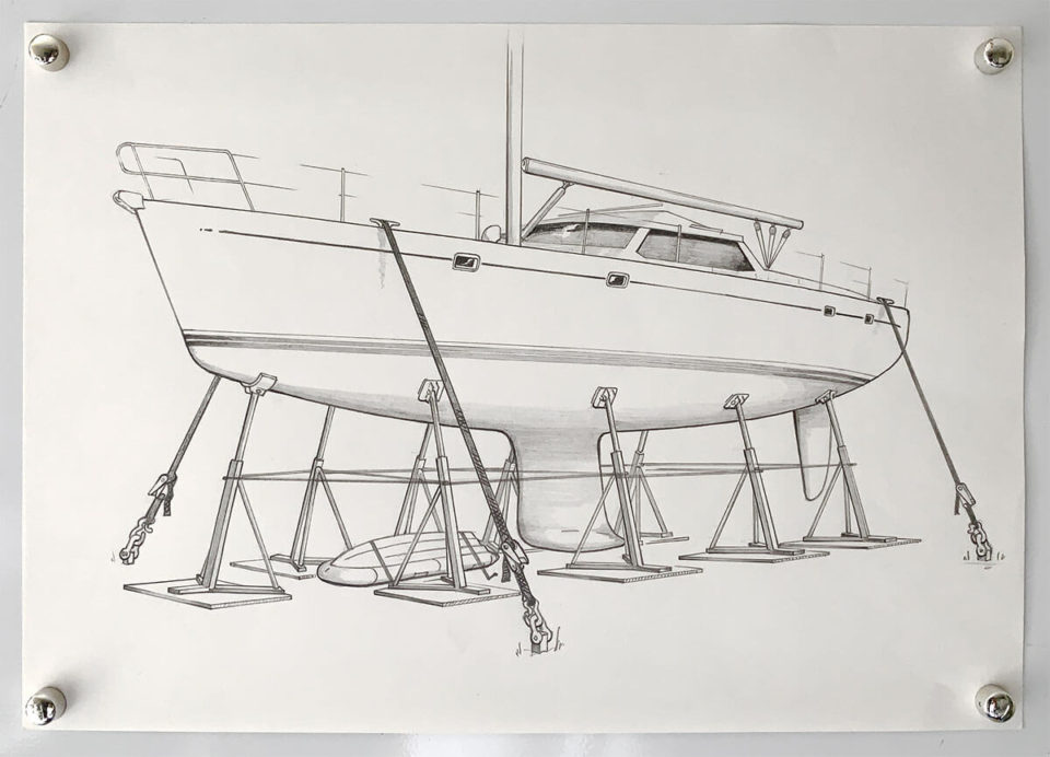 A yacht secured ashore ready for hurricane season - Illustration by Paul Traies