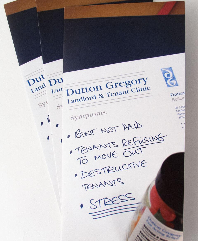 Dutton Gregory Solicitors leaflet design & production