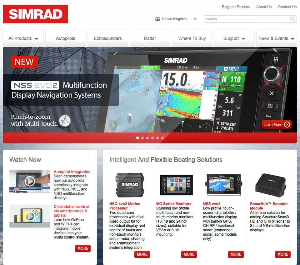Simrad Yachting website design
