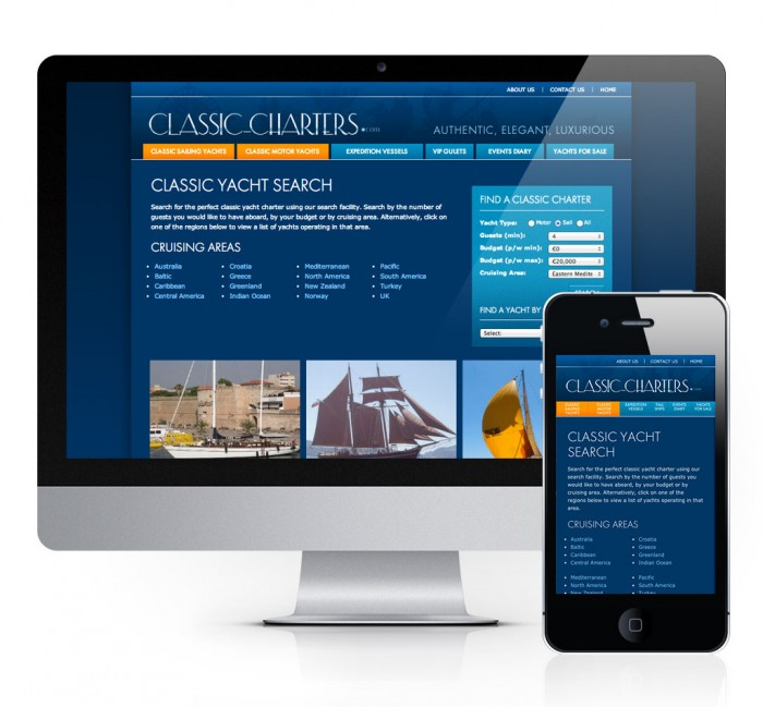 Classic Charters Website Yacht Search