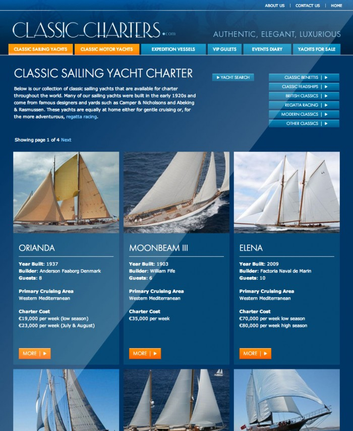 Classic Charters Yacht Listings