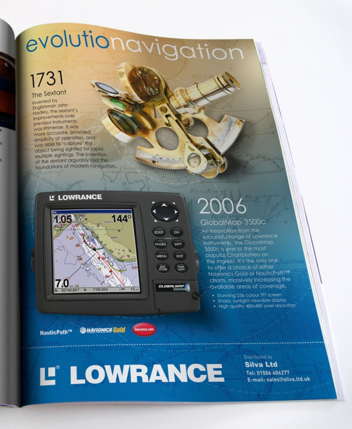 Lowrance Advert Design Evolution