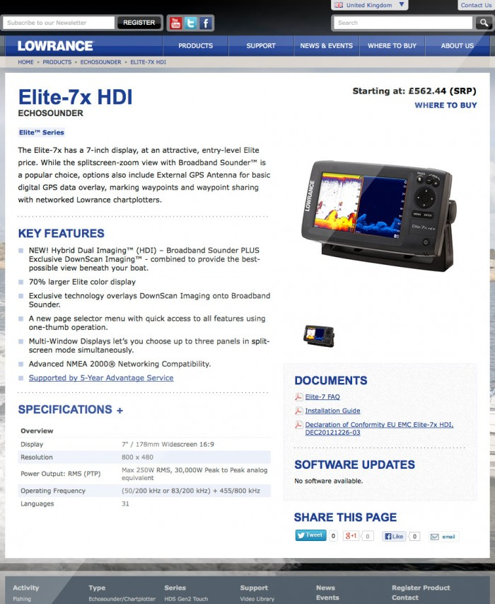 Lowrance Product Page