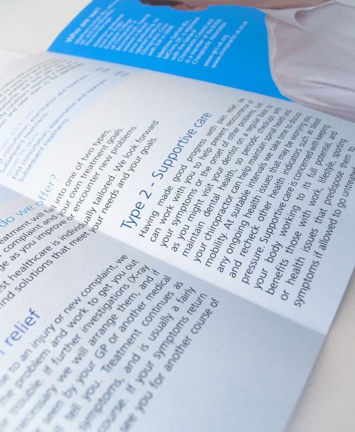 Lyndhurst Chiropractic Clinic Trifold Leaflet