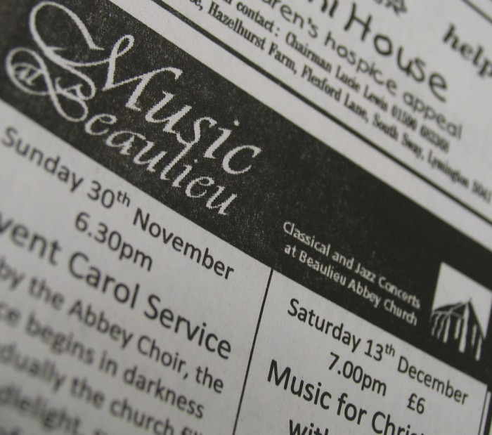 Music at Beaulieu Advert
