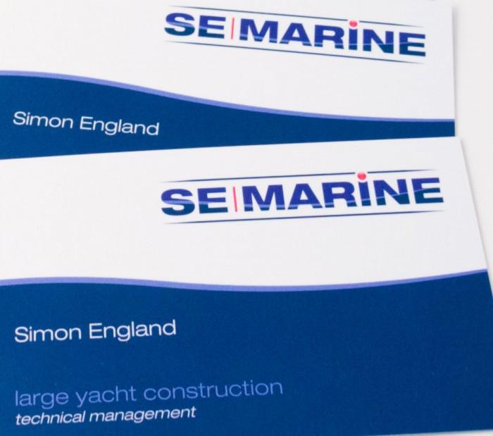 SE Marine Logo Design on Business Cards
