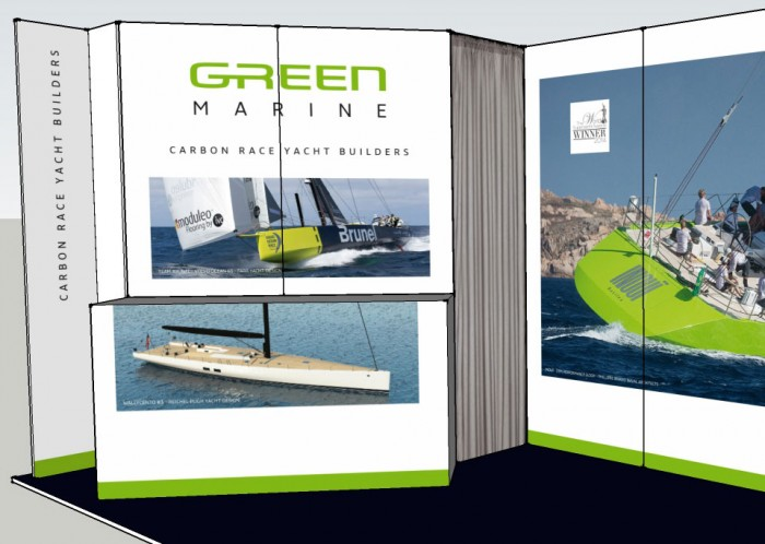 Green Marine exhibition stand front desk model