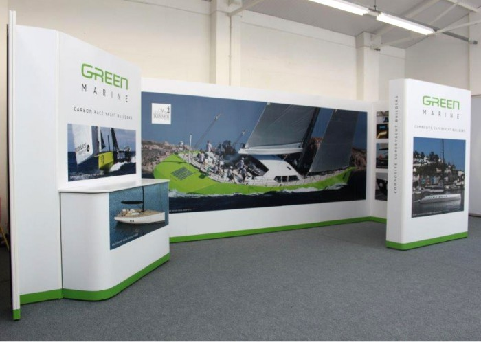 Green Marine exhibition stand front left