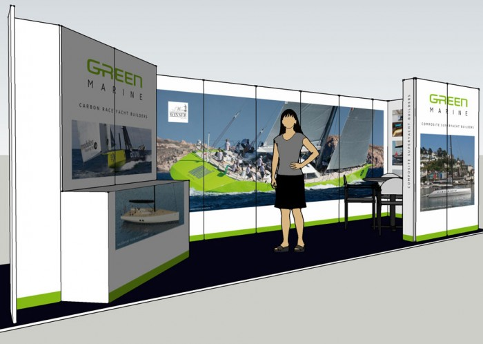 Green Marine exhibition stand front left model