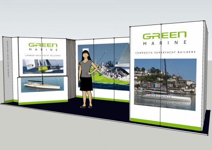 Green Marine exhibition stand front right model