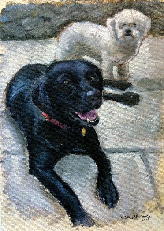 Millie and Scruff - a more recent work, oil on canvas