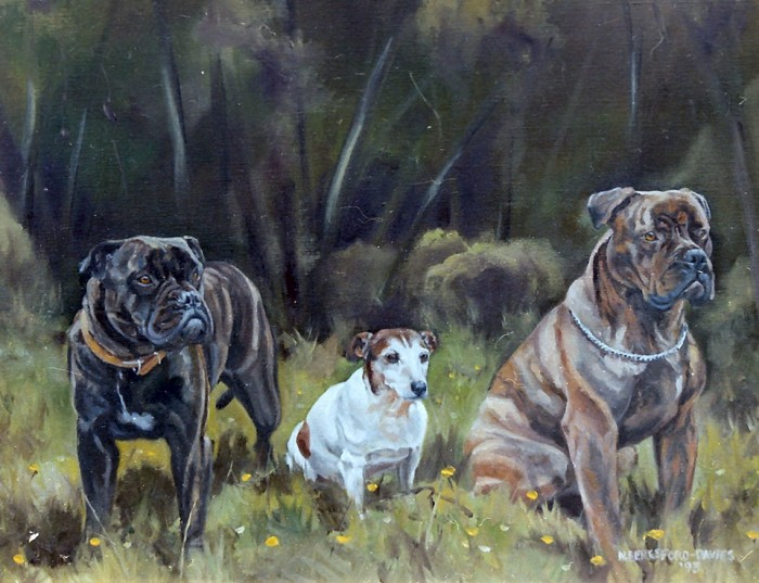 Three of many dogs, oil on canvas