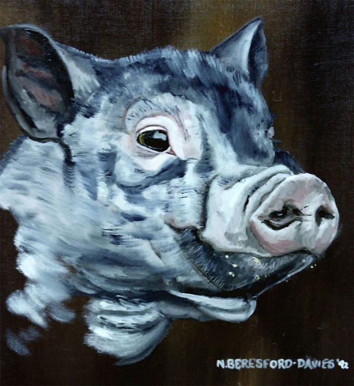 A Vietnamese Pot Bellied Pig - oil on canvas