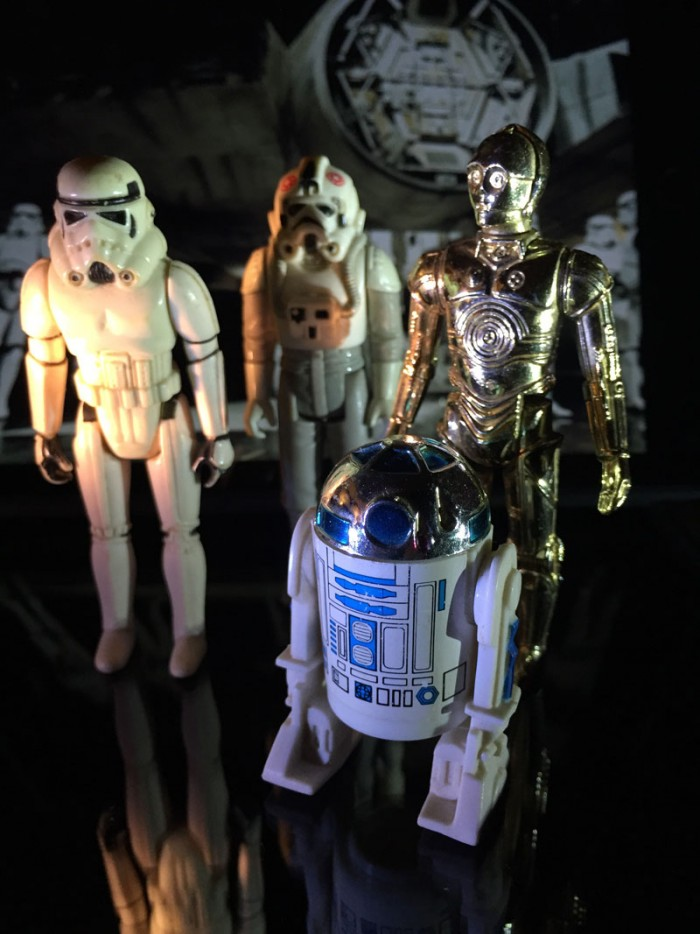 C3PO and R2D2 and Storm Troopers on the Death Star