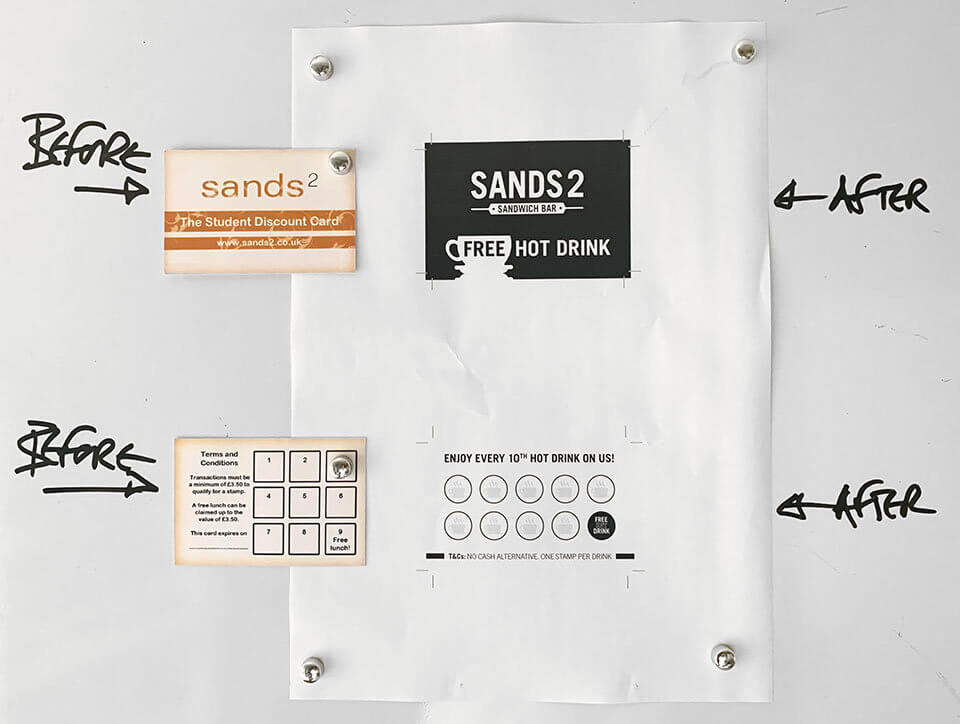 Sands2 Sandwich Bar Lyalty Card, Before and After