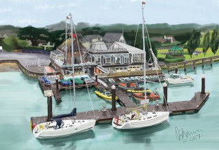 Digital Painting - Royal Lymington Yacht Club, 2017