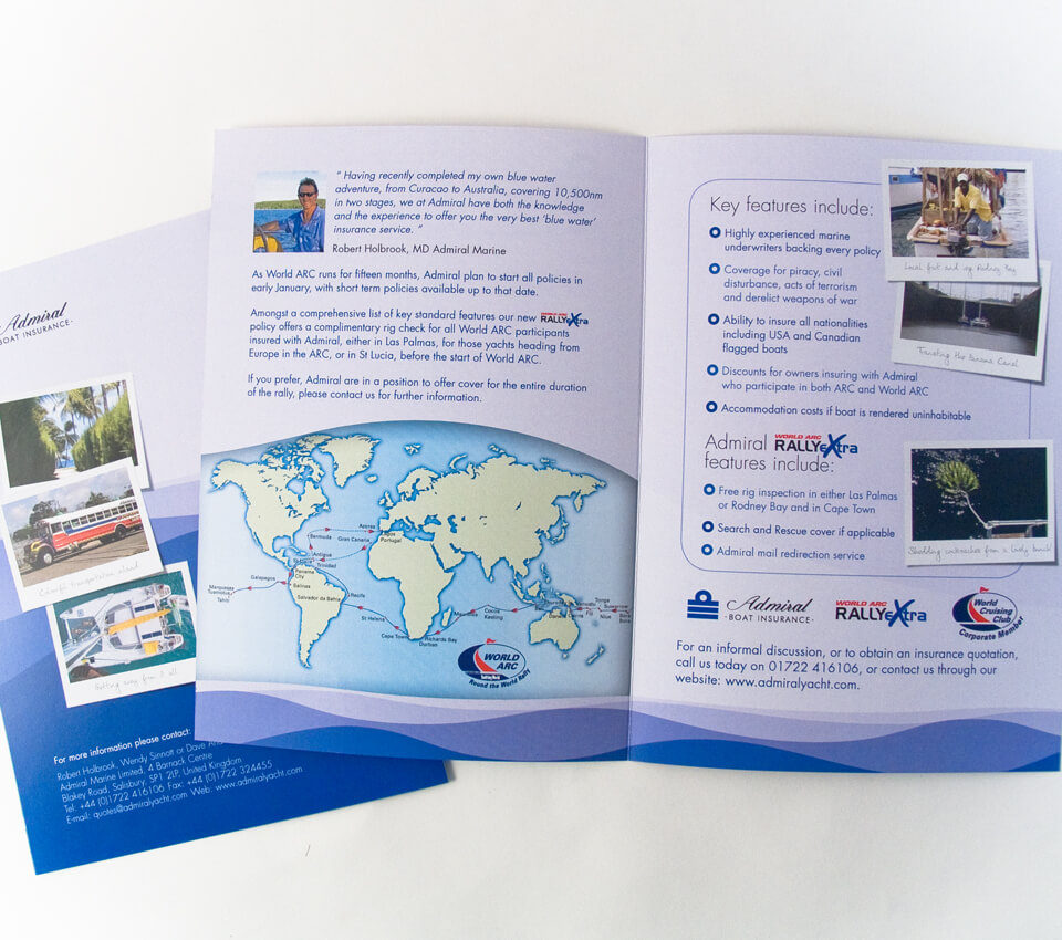 Adrmial Yacht Insurance World ARC Leaflet Design