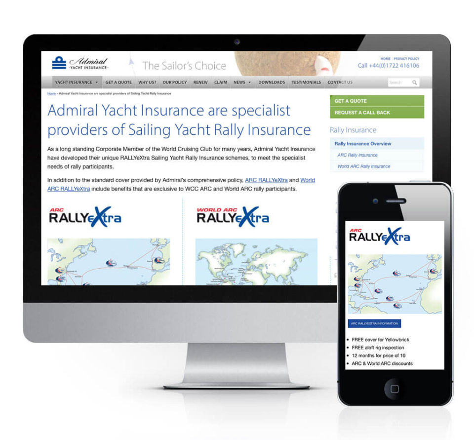 Adrmial Yacht Insurance ARC Rally Web Page