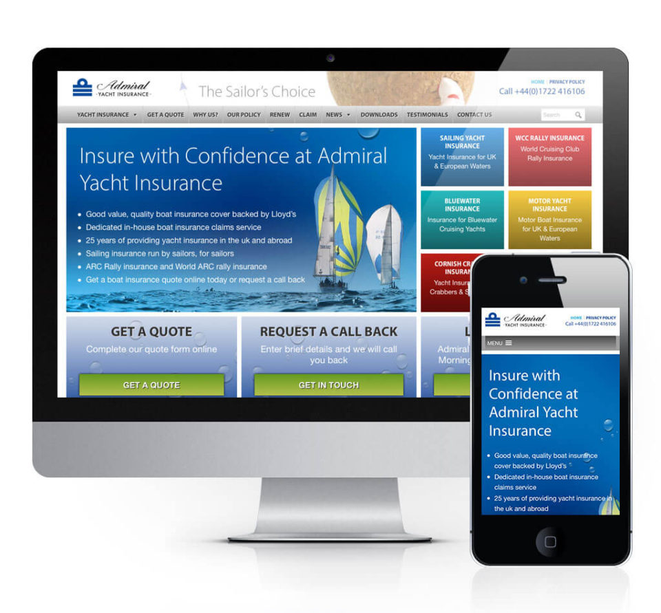 Adrmial Yacht Insurance Website Design