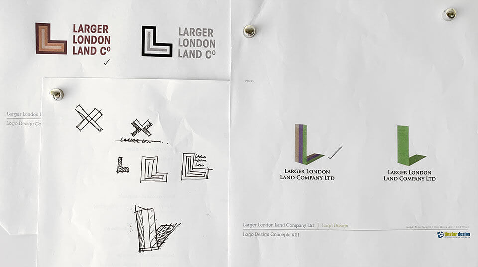 The Larger London Land Company Logo Rough Concepts
