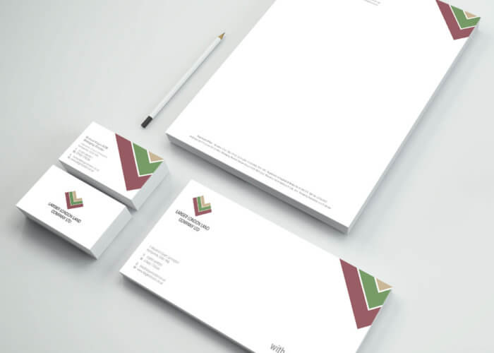 The Larger London Land Company Logo and Stationery Design