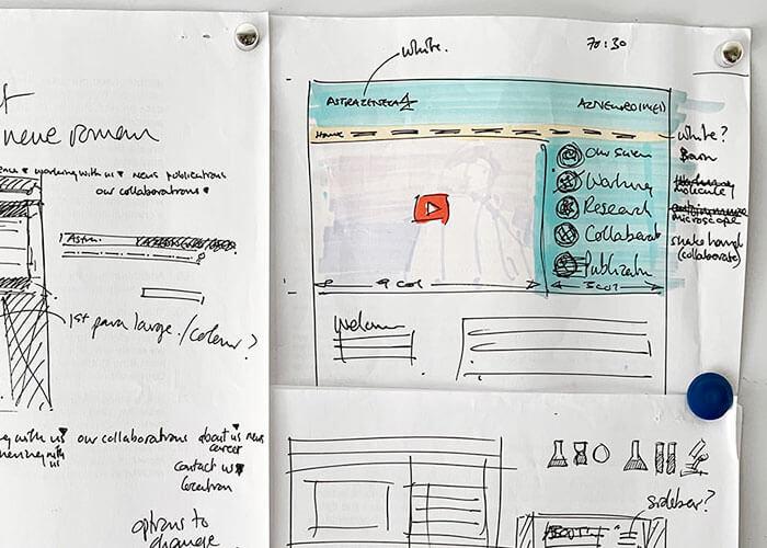 AstraZeneca Neuroscience Website Planning Sketches