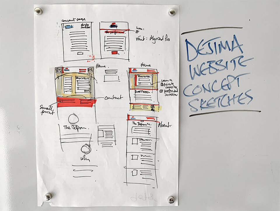 Dejima Asset Management website concept sketches