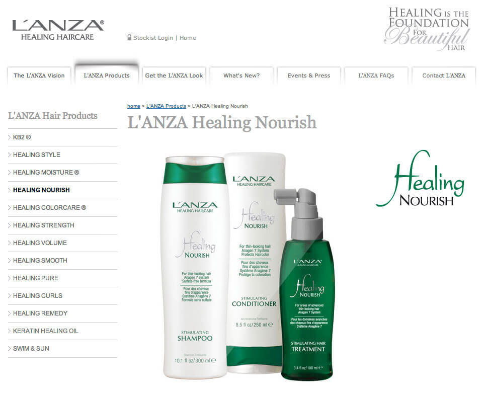 L'ANZA Healing Haircare website
