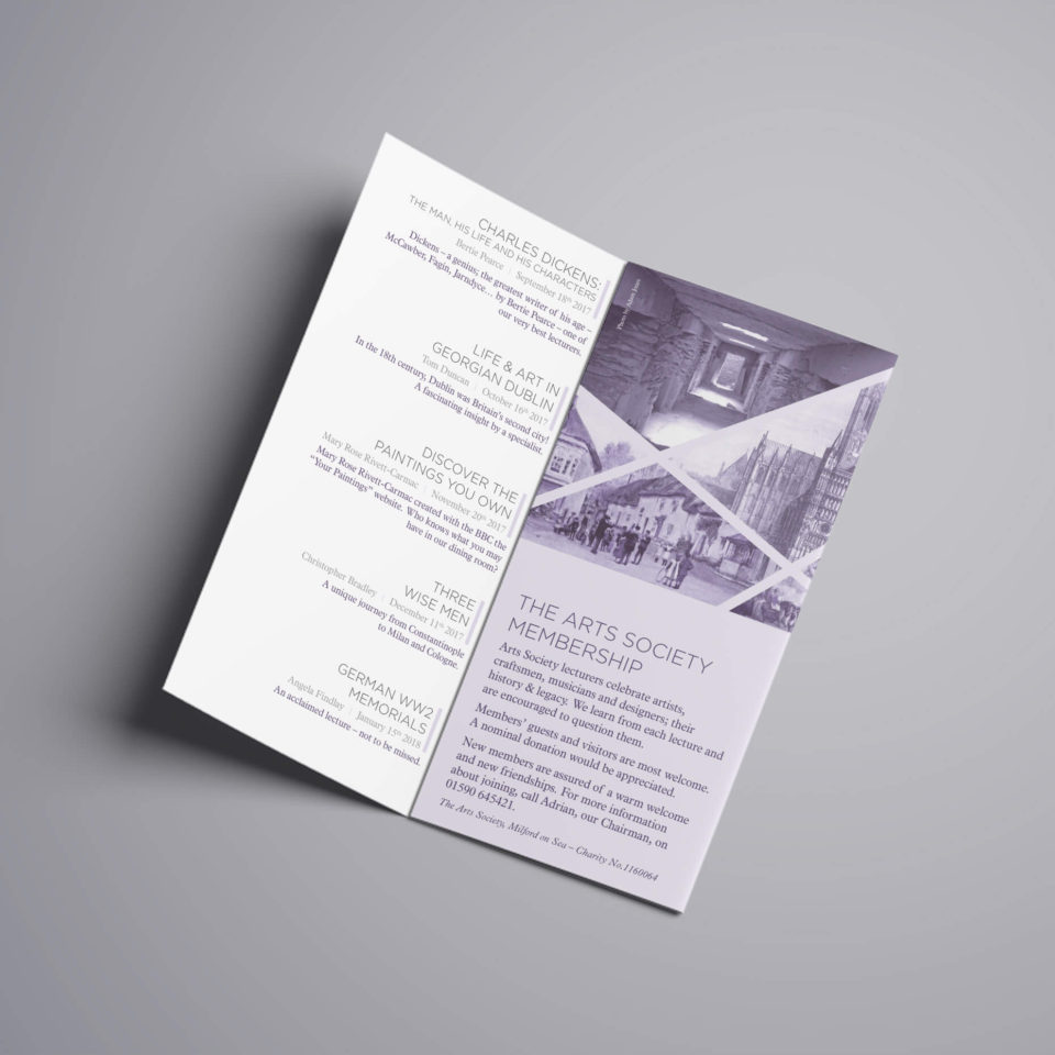 The Arts Society Milford on Sea leaflet design