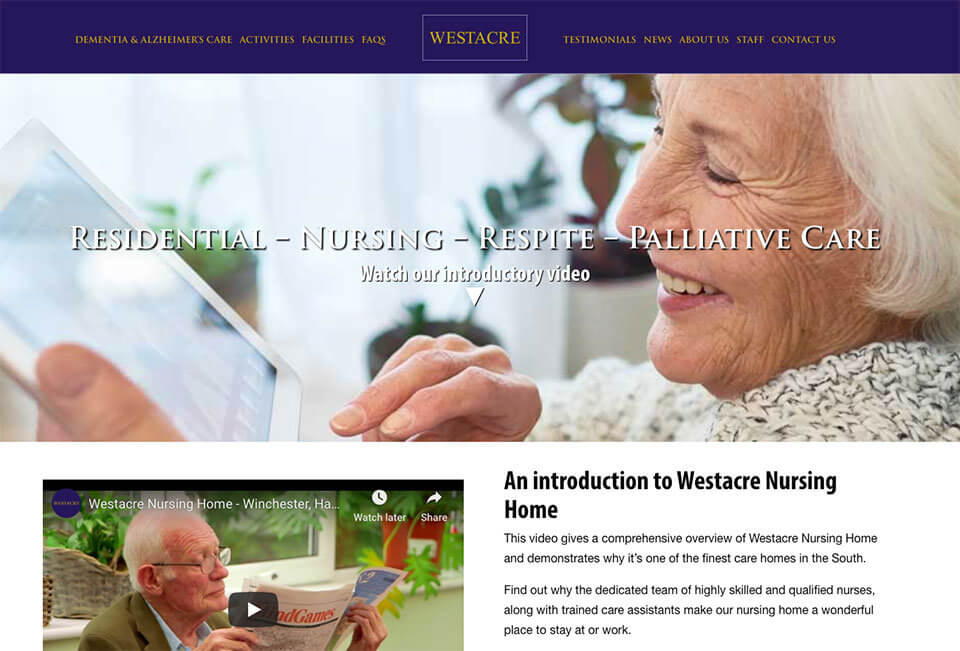 Westacre Nursing Home website home page