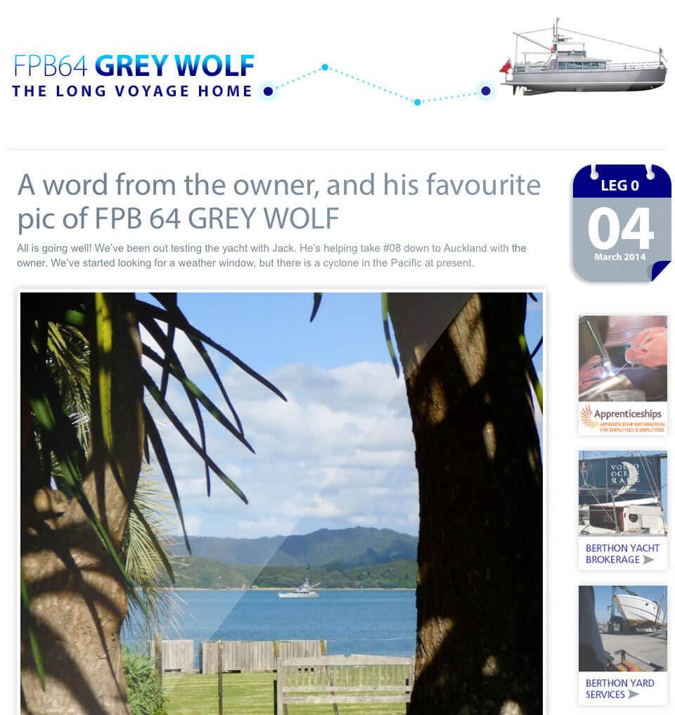 Grey Wolf voyage home website