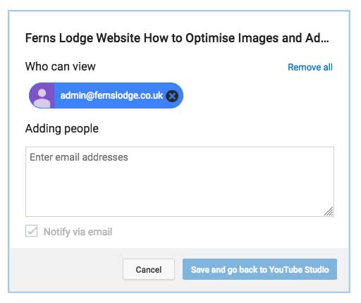Add email to private video on YouTube