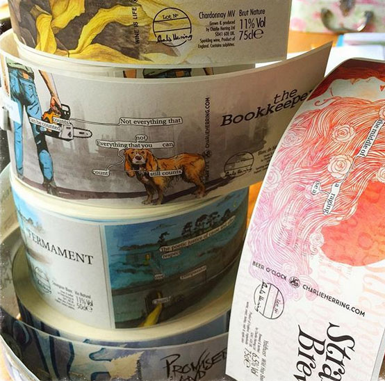 Charlie Herring wine label rolls, ready to go. Courtesy Charlie Herring Wines.