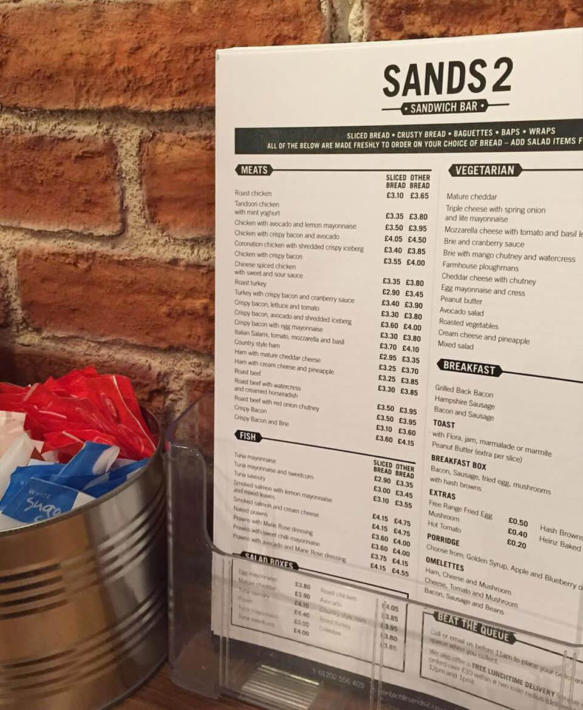 Sands2 Sandwich Bar Menu