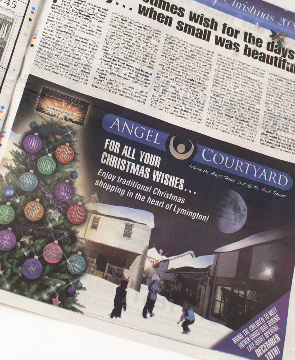 Angel Courtyard Christmas Advert with the final image in place